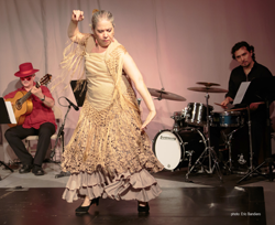 Flamenco Latino with Aurora Reyes dancing St. James Infirmary, Basilio Georges, guitar, Guillermo Barron, drums and cajon